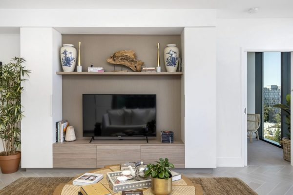 A view of one of the living rooms in the towers at elizabeth quay
