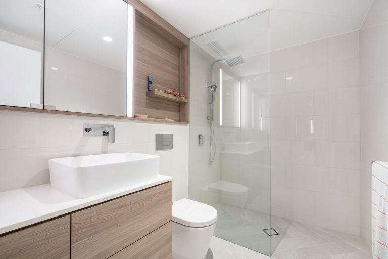 Stylish shower shot the towers at elizabeth quay