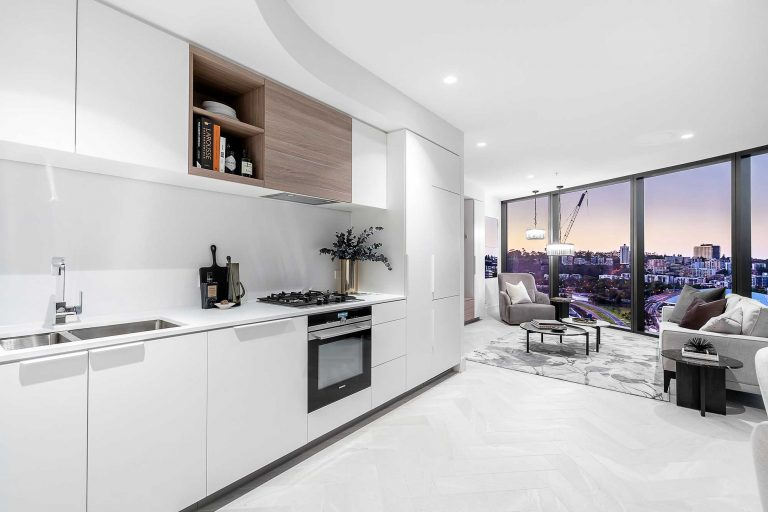 kitchen in apartment 2104 elizabeth quay the towers perth